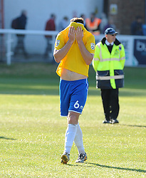 A disappointed Bristol Rovers' Tom Parkes - Photo mandatory by-line: Neil Brookman/JMP - Mobile: 07966 386802 - 18/04/2015 - SPORT - Football - Dover - Crabble Athletic Ground - Dover Athletic v Bristol Rovers - Vanarama Football Conference
