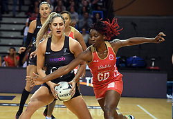 New Zealand's Te Paea Selby-Rickit, left, under pressure from England's Ama Agbeze in the Taini Jamison Trophy netball series match at Te Rauparaha Arena, Porirua, New Zealand, Thursday, September 07, 2017. Credit:SNPA / Ross Setford  **NO ARCHIVING**