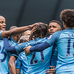 Manchester City midfielder David Silva (21) celebrates scoring the opening goal in the English Premier League match between Manchester City and Crystal Palace<br /> (c) John Baguley   SportPix.org.uk
