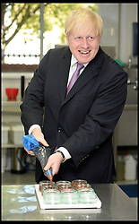 London Mayor Boris Johnson making a Gü chocolate soufflé during a visit with the Gü head chef Fred, at the Gü development kitchen, Gü Puds, London, UK,  May 2, 2013..The Mayor Boris Johnson will announce details of a £40million fund to support jobs and enterprise in the capital. This money will help drive the delivery of a new jobs and growth strategy developed by the London Enterprise Panel with particular focus on small and medium businesses, May 2, 2013. Photo by: Andrew Parsons / i-Images