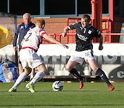 Dundee's David Clarkson and Hamilton's Ziggy Gordon - Dundee v Hamilton, SPFL Premiership at Dens Park<br /> <br />  - &copy; David Young - www.davidyoungphoto.co.uk - email: davidyoungphoto@gmail.com