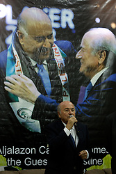 19.05.2015, Ramallah, PSE, FIFA Präsident Blatter besucht Palästina, im Bild der FIFA PRäsident Sepp Blatter bei seinem Palästina Besuch // FIFA president Joseph Blatter speaks speaks to media during his visit to Jalazoun refugee camp, near the West Bank city of Ramallah. Blatter hopes to head off a Palestinian call for a vote to expel Israel from football's governing body but that Israel must make a concession, Palestine on 2015/05/19. EXPA Pictures © 2015, PhotoCredit: EXPA/ APAimages/ Shadi Hatem<br /> <br /> *****ATTENTION - for AUT, GER, SUI, ITA, POL, CRO, SRB only*****