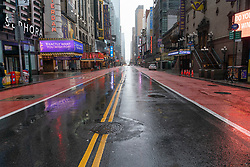 March 23, 2020, New York, New York, USA: Virtually empty 42nd street in Manhattan on first day of Stay at Home executive order. (Credit Image: © Lev Radin/Pacific Press via ZUMA Wire)