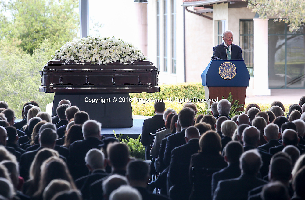 James A. Baker speaks during a funeral service for the former first lady Nancy Reagan at the Ronald Reagan Presidential Library and Museum in Simi Valley, California on March 11, 2016. Reagan died of congestive heart failure in her sleep at her Bel Air home Sunday at age 94. A bout 1,000 guests from the world of politics attended the final farewell to Nancy Reagan as the former first lady is eulogized and laid to rest next to her husband at his presidential library.<br />    (Photo by Ringo Chiu/PHOTOFORMULA.com)<br /> <br /> Usage Notes: This content is intended for editorial use only. For other uses, additional clearances may be required.