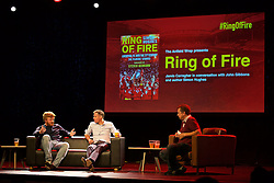 LIVERPOOL, ENGLAND - Friday, September 9, 2016: Former Liverpool player Jamie Carragher, author Simon Hughes and John Gibbons on stage during the launch of Ring of Fire - Liverpool FC into the 21st century the players' story at Mountford Hall. (Pic by David Rawcliffe/Propaganda)