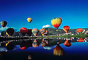 Reflections of hot-air baloons at Park City Baloon Festival in Park City, Utah
