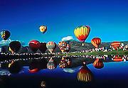 Reflections of hot-air baloons at Park City Baloon Festival in Park City, Utah