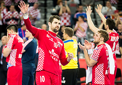 Jakov Gojun of Croatia after the handball match between National teams of Croatia and France on Day 7 in Main Round of Men's EHF EURO 2018, on January 24, 2018 in Arena Zagreb, Zagreb, Croatia.  Photo by Vid Ponikvar / Sportida