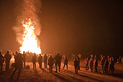 People gathered on Portobello Beach Edinburgh for the annual burning of the Christmas Trees to mark the end of the festive season. A big crowd gathered despite the drizzle to enjoy the spectacle.<br /> &copy; Jon Davey/ EEm