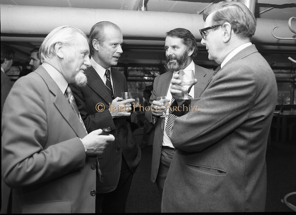 "20/06/1979.06/20/1979.20th June 1979.An exhibition of photographs presented by the Norwegian Foreign Ministry as a gift to the Department of Architecture, Bolton Street, Dublin entitled ""New Architecture from Norway"" opened at the Kilkenny Design Shop, Nassau Street. Photograph shows (from left) Mr Oscar Richardson, President of the Royal Institute of the Architects of Ireland; Mr Julian Kulski, a Polish Architect, educated in Ireland, and now on a mission from the World Bank in Washington; Mr Padraig Murphy, former President, R.I.A.I.; and Mr Kevin Fox, former President, R.I.A.I. and Head of Division of Architecture and Planning in College of Technology, Bolton Street, Dublin chatting at the exhibitions opening."