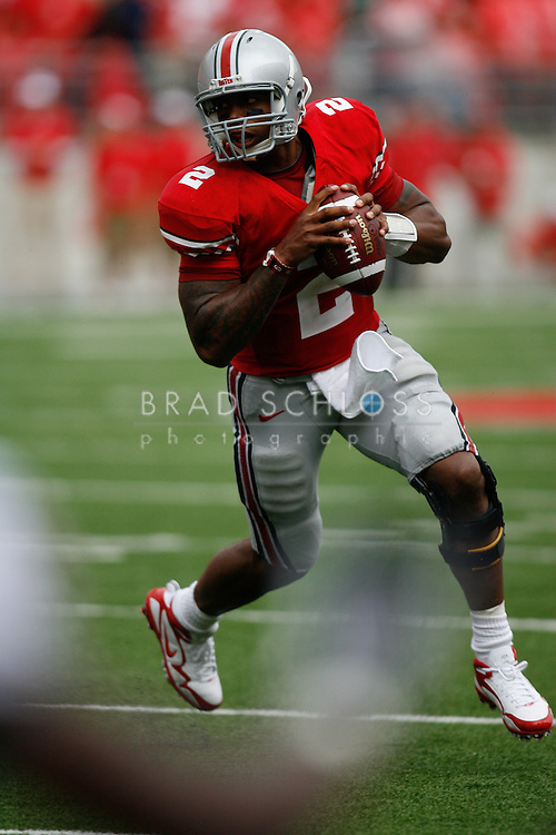 September 11, 2010:  Ohio State quarterback Terrelle Pryor scrambles during the Buckeyes 36-24 win over the Miami (FL) Hurricanes today at The Ohio Stadium in Columbus, OH.  (Photo by Brad Schloss)