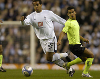 Photo: Olly Greenwood.<br />Tottenham Hotspur v FC Braga. UEFA Cup. 14/03/2007. Spurs Tom Huddlestone and Braga'a Luis Filipe