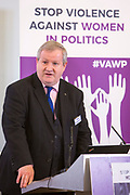 Rt Hon Ian Blackford (MP & Westminster Leader, Scottish National Party) Session 7: THE ROLE AND RESPONSIBILITIES OF POLITICAL PARTIES IN TACKLING VIOLENCE AGAINST POLITICALLY ACTIVE WOMEN 'Violence Against Women in Politics' Conference, organised by all the UK political parties in partnership with the Westminster Foundation for Democracy, 19th and 20th of March 2018, central London, UK.  (Please credit any image use with: © Andy Aitchison / WFD