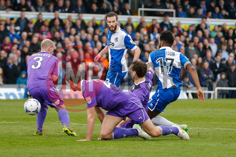 Andy Monkhouse of Bristol Rovers receives a pass from Ellis Harrison going on to score a goal and make it 3-0 - Photo mandatory by-line: Rogan Thomson/JMP - 07966 386802 - 03/04/2015 - SPORT - FOOTBALL - Bristol, England - Memorial Stadium - Bristol Rovers v Chester - Vanarama Conference Premier.