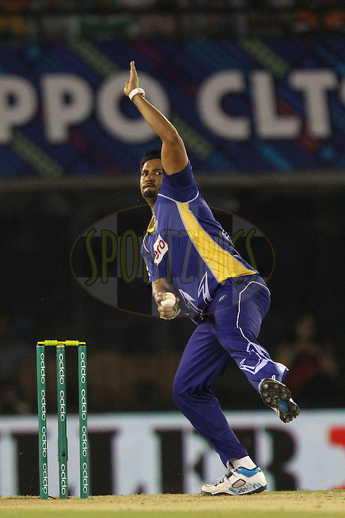 Ravi RAMPAUL of the Barbados Tridents  during match 5 of the Oppo Champions League Twenty20 between the Kings XI Punjab and the Barbados Tridents held at the Punjab Cricket Association Stadium, Mohali, India on the 20th September 2014<br /> <br /> Photo by:  Ron Gaunt / Sportzpics/ CLT20<br /> <br /> <br /> Image use is subject to the terms and conditions as laid out by the BCCI/ CLT20.  The terms and conditions can be downloaded here:<br /> <br /> http://sportzpics.photoshelter.com/gallery/CLT20-Image-Terms-and-Conditions-2014/G0000IfNJn535VPU/C0000QhhKadWcjYs