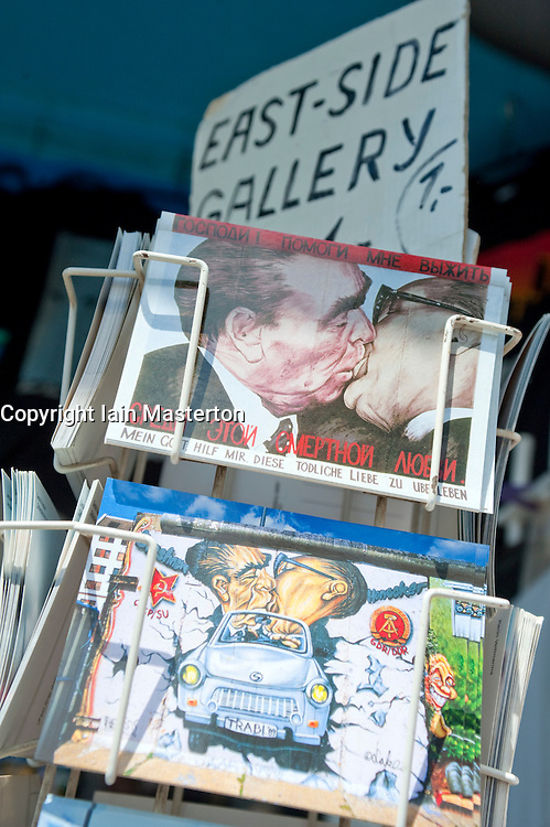 Postcards for sale at the Berlin Wall at the East Side Gallery in Berlin 2009