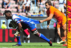 Cape Town-180217 Stomers captain Siya Kolisi scores a try against Jaguares in the opening game of the Super 15 at Newlands .photograph:Phando Jikelo/African News Agency/ANA