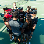 10 November 2017:  The San Diego State Aztecs women's tennis team hosts it's annual Fall Classic II. Head coach <br /> Peter Mattera talks with his team prior to the start of the tournament.<br /> www.sdsuaztecphotos.com