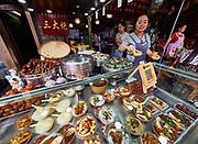 China, Sichuan. Chengdu. Kuan Zhai Alleys 宽窄巷子. Traditional Sichuan dishes.