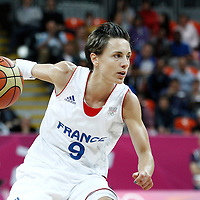 07 August 2012: France Celine Dumerc dribbles during 71-68 Team France victory over Team Czech Republic, during the women's basketball quarter-finals, at the Basketball Arena, in London, Great Britain.