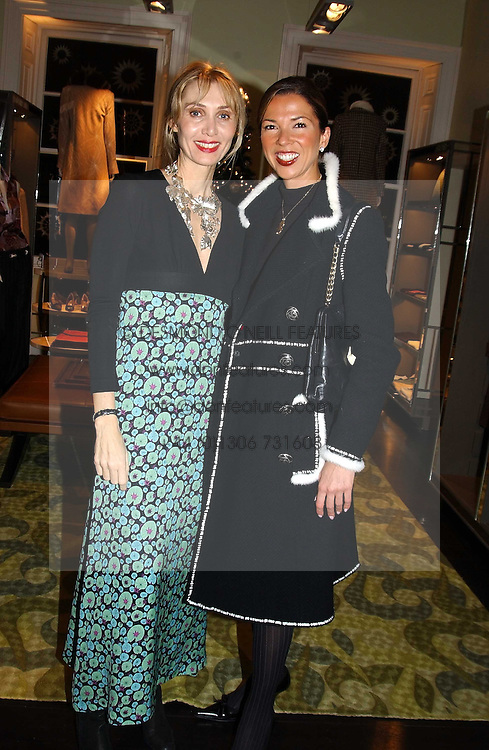 Left to right, MRS ASHLEY HICKS and MRS SOL KERZNER at a jewellery party hosted by Osanna Visconti and Pia Marocco at Allegra Hick's shop, 28 Cadogan Place, London on 25th November 2004.<br /><br />NON EXCLUSIVE - WORLD RIGHTS