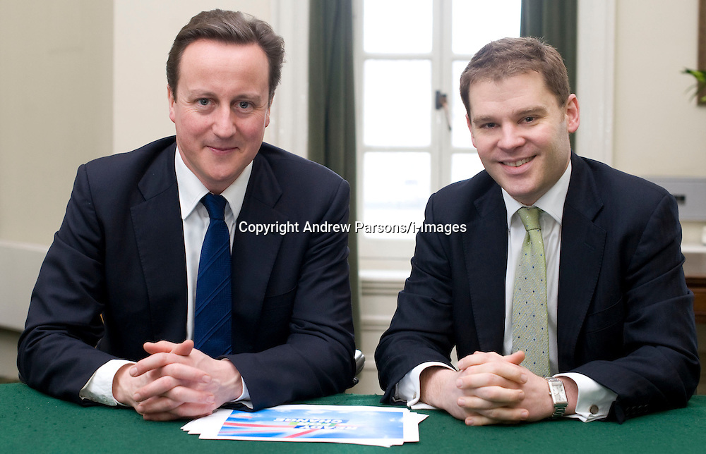 Leader of the Conservative Party David Cameron with Aidan Burley, 32, HE was sacked as parliamentary private secretary to the transport secretary, Justine Greening after A Conservative MP, who had been destined for rapid promotion by David Cameron, has been sacked as a ministerial aide amid reports that he was involved in the preparations for a Nazi-themed stag party in France, Monday January 18, 2010. Photo By Andrew Parsons / i-Images..
