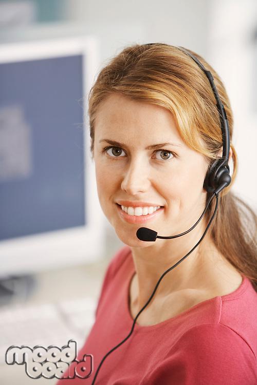 Smiling Customer Service Representative