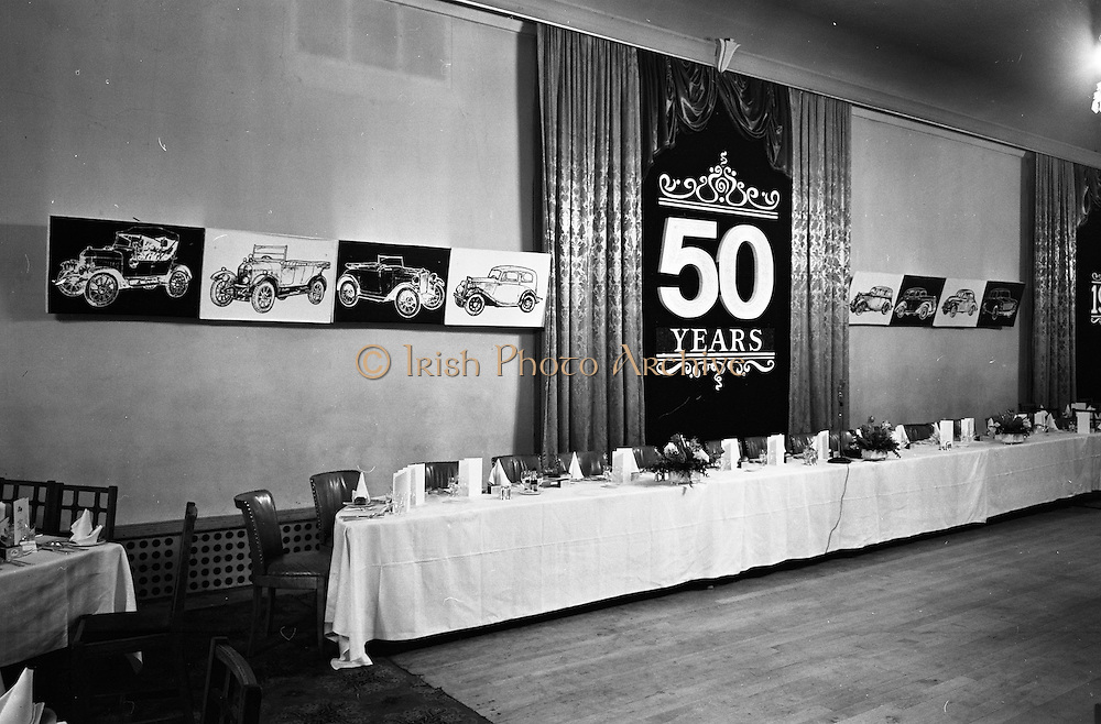 07/02/1963<br /> 02/07/1963<br /> 07 February 1963<br /> Brittain Dublin Ltd. Golden Jubilee reception and Dinner at the Hibernian Hotel, Dublin. Picture shows a view of the hall prior to the dinner.