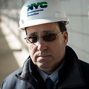 February 19, 2015 - New York, NY : Vincent Sapienza, P.E., NY Environmental Protection Deputy Commissioner, Bureau of Engineering, Design & Construction poses for a portrait at the Newtown Creek Wastewater Treatment Plant in Greenpoint, Brooklyn, on Thursday afternoon. The plant, the largest of New York City's 14 wastewater treatment plants, is having a difficult time combating a surge in the use of wet wipes, which most often do not break down in the system and have come to constitute the vast majority of solid waste entering the city's water treatment system. CREDIT: Karsten Moran for The New York Times