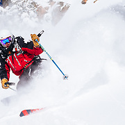 Andrew Whiteford skiing in-bounds powder and terrain at Jackson Hole Mountain Resort.