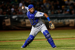 OAKLAND, CA - SEPTEMBER 16: Meibrys Viloria #72 of the Kansas City Royals throws to first base against the Oakland Athletics during the sixth inning at the RingCentral Coliseum on September 16, 2019 in Oakland, California. The Kansas City Royals defeated the Oakland Athletics 6-5. (Photo by Jason O. Watson/Getty Images) *** Local Caption *** Meibrys Viloria