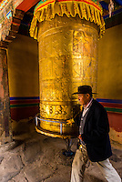 Prayer wheel, Tandruk Monastery, near Tsedang, Tibet (Xizang), China.