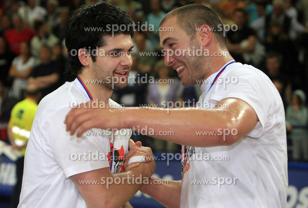 Celebration Saso Ozbolt and Marko Milic of Union Olimpija after fourth (last) final match of UPC Telemach league and Slovenian  National Championship  between KK Helios Domzale, Domzale and Union Olimpija, Ljubljana, Slovenia, on June 7, 2008, in Komunalni center hall in Domzale. Match was won by Union Olimpija 84:60 and Olimpija became National Champion 2007/2008 fourteen times in history of Slovenia. (Photo by Vid Ponikvar / Sportal Images)