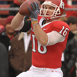 Dec 5, 2009; Piscataway, NJ, USA; Rutgers wide receiver Andrew Depaola (16) warms up before first half NCAA Big East college football action between Rutgers and West Virginia at Rutgers Stadium.