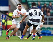 England prop Kieran Brookes (Newcastle Falcons)charges at Barbarians prop Matias Diaz (Pampas & Argentina) during the International Rugby Union match England XV -V- Barbarians at Twickenham Stadium, London, Greater London, England on May  31  2015. (Steve Flynn/Image of Sport)
