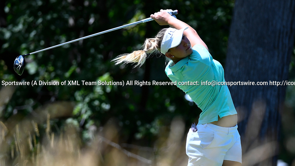 OLYMPIA FIELDS, IL - JULY 01: Emily Pedersen of Denmark plays the ball from the fifth tee during the third round of the 2017 KMPG PGA Championship at Olympia Fields on July 1, 2017 in Olympia Fields, Illinois. (Photo by Quinn Harris/Icon Sportswire)