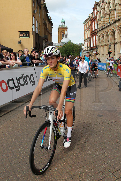 © Licenced to London 19/06/2016<br /> Northampton .UK. Lizzy Armitstead approaches the line for the start of final stage of the Aviva Women's Tour. Photo credit Steven Prouse/LNP