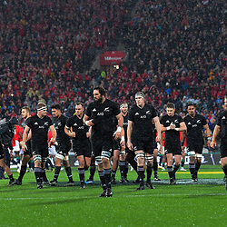 The All Blacks walk back for the kickoff during the 2017 DHL Lions Series 2nd test rugby match between the NZ All Blacks and British & Irish Lions at Westpac Stadium in Wellington, New Zealand on Saturday, 1 July 2017. Photo: Dave Lintott / lintottphoto.co.nz