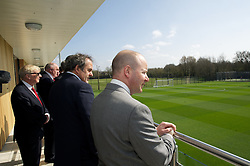 NEWPORT, WALES - Saturday, April 20, 2013: Chief-Executive Jonathan Ford with UEFA President Michel Platini at the opening of the FAW National Development Centre in Newport. (Pic by David Rawcliffe/Propaganda)