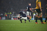 Scotland's Fraser Brown not quite believing they have just lost during the Rugby World Cup Quarter Final match between Australia and Scotland at Twickenham, Richmond, United Kingdom on 18 October 2015. Photo by Matthew Redman.