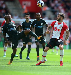 Fabian Delph of Manchester City in action Charlie Austin of Southampton - Mandatory by-line: Alex James/JMP - 13/05/2018 - FOOTBALL - St Mary's Stadium - Southampton, England - Southampton v Manchester City - Premier League