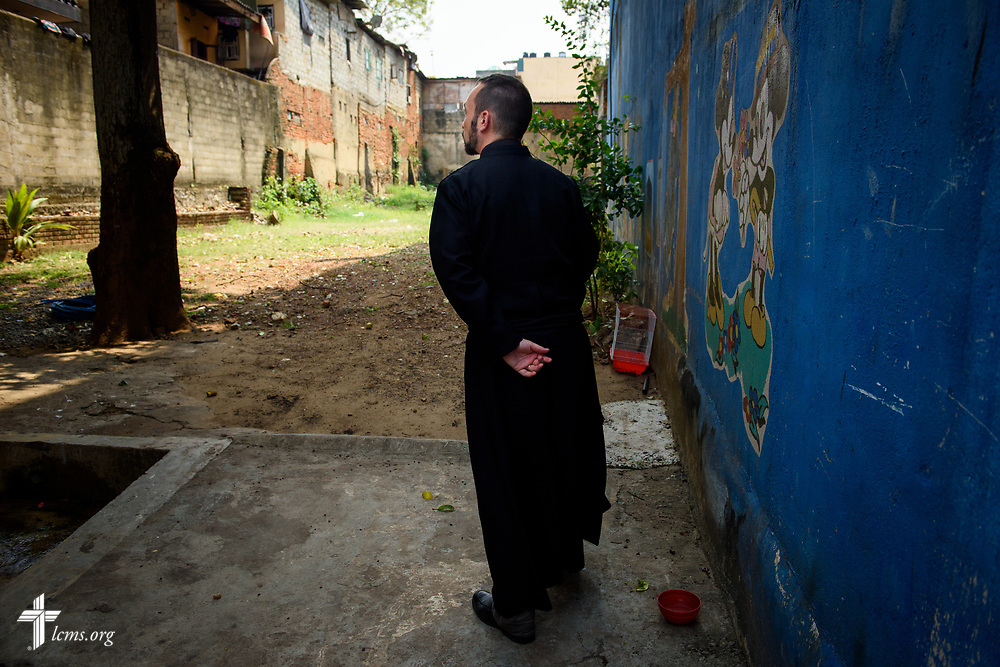 The Rev. Dr. Edward Naumann, LCMS career missionary and theological educator to South Asia, surveys land for a building project at Immanuel Lutheran Church on Monday, Jan. 22, 2018, in Colombo, Sri Lanka. LCMS Communications/ Erik M. Lunsford