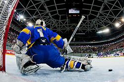 Goalie Igor Karpenko of Ukraine blocks a puck during ice-hockey match between Slovenia and Ukraine at IIHF World Championship DIV. I Group A Slovenia 2012, on April 19, 2012 at SRC Stozice, Ljubljana, Slovenia. (Photo By Matic Klansek Velej / Sportida.com)