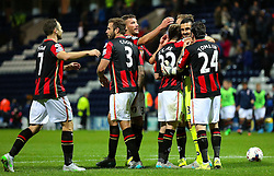 Bournemouth players celebrate after the penalty shoot out - Mandatory byline: Matt McNulty/JMP - 07966386802 - 22/09/2015 - FOOTBALL - Deepdale Stadium -Preston,England - Preston North End v Bournemouth - Capital One Cup - Third Round