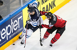 Joonas Jarvinen of Finland vs Matt Duchene of Canada during the 2017 IIHF Men's World Championship group B Ice hockey match between National Teams of Canada and Finland, on May 16, 2017 in AccorHotels Arena in Paris, France. Photo by Vid Ponikvar / Sportida