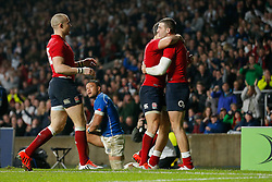 England Winger Jonny May celebrates with Scrum-Half Ben Youngs scoring his second try of the game - Photo mandatory by-line: Rogan Thomson/JMP - 07966 386802 - 22/11/2014 - SPORT - RUGBY UNION - London, England - Twickenham Stadium - England v Samoa - QBE Autumn Internationals.