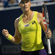 August 21, 2014, New Haven, CT:<br /> Samantha Stosur reacts after defeating Kirsten Flipkens on day seven of the 2014 Connecticut Open at the Yale University Tennis Center in New Haven, Connecticut Thursday, August 21, 2014.<br /> (Photo by Billie Weiss/Connecticut Open)