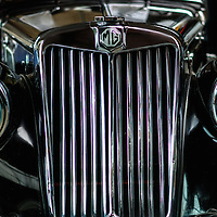 Close up of Classic car. MG grill