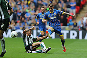 Jake Reeves midfielder for AFC Wimbledon (8) evades a challenge by Plymouth Argyle striker Jake Jervis (14) during the Sky Bet League 2 play off final match between AFC Wimbledon and Plymouth Argyle at Wembley Stadium, London, England on 30 May 2016. Photo by Stuart Butcher.