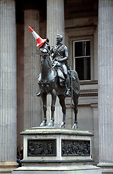 The Duke of Wellington.<br /> Photo dated 12/05/1999 of the statue of the Duke of Wellington in Glasgow, Scotland, UK , with a traffic cone placed on the horse's head. Glasgow City Council has said today that it refused to heighten the plinth by 6ft to prevent the regular prank - much favoured by Scottish revellers, Tuesday, 12th November 2013. Picture by Jonathan Mitchell / i-Images